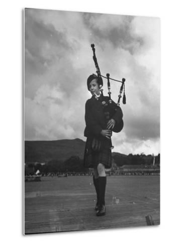 Twelve Year Old Boy Winning First Prize in Both of the Piping Contests Open to Him at Cowal--Metal Print