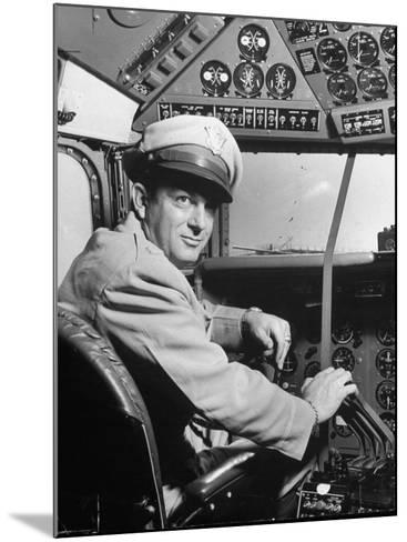 "Pilot Lt. Col. Henry T. Myers on President Harry S. Truman's New Plane ""The Independence""-Peter Stackpole-Mounted Photographic Print"