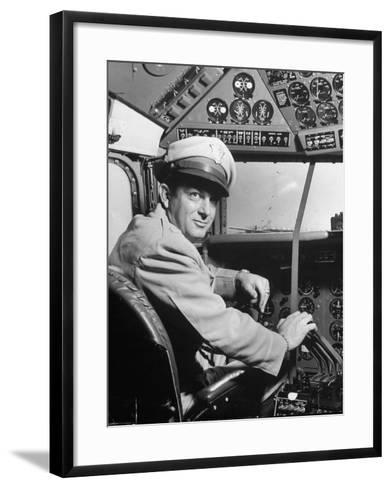 "Pilot Lt. Col. Henry T. Myers on President Harry S. Truman's New Plane ""The Independence""-Peter Stackpole-Framed Art Print"