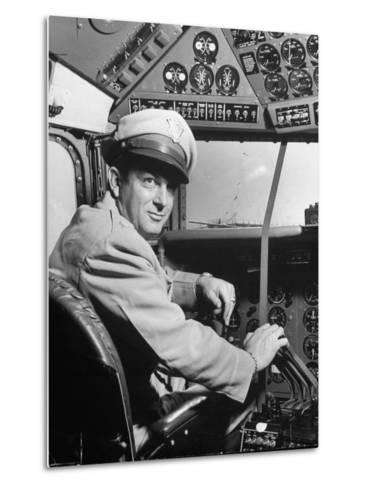 "Pilot Lt. Col. Henry T. Myers on President Harry S. Truman's New Plane ""The Independence""-Peter Stackpole-Metal Print"