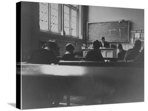 At Eton College, Students Attending a French Lesson--Stretched Canvas Print