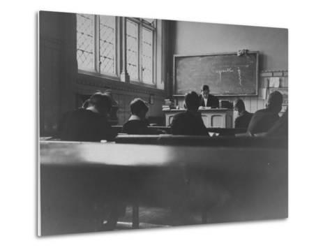 At Eton College, Students Attending a French Lesson--Metal Print