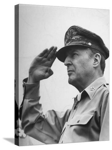 General Douglas Macarthur Saluting During the July 4 Allied Military Government Parade--Stretched Canvas Print