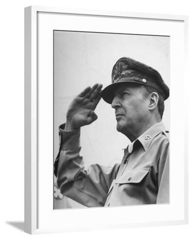 General Douglas Macarthur Saluting During the July 4 Allied Military Government Parade--Framed Art Print