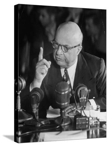 Henry J. Kaiser Testifying at the Howard Hughes Trial--Stretched Canvas Print