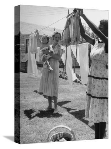 Woman Hanging the Laundry Out to Dry-Nina Leen-Stretched Canvas Print