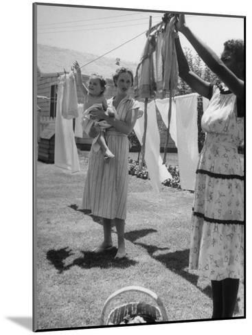 Woman Hanging the Laundry Out to Dry-Nina Leen-Mounted Photographic Print