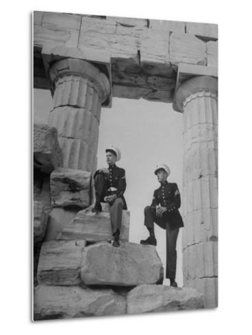 US Marines Sightseeing in Athens--Metal Print
