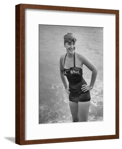 "Swimmer Shirley May France, Standing in the Ocean Wearing Her ""Black Magic"" Swimsuit--Framed Art Print"