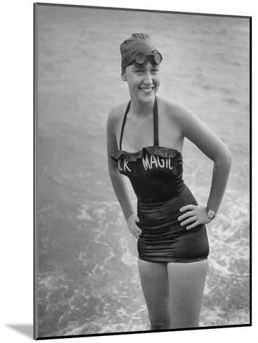 "Swimmer Shirley May France, Standing in the Ocean Wearing Her ""Black Magic"" Swimsuit--Mounted Photographic Print"