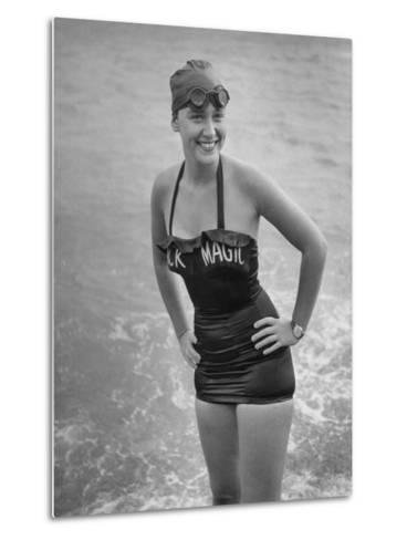"Swimmer Shirley May France, Standing in the Ocean Wearing Her ""Black Magic"" Swimsuit--Metal Print"