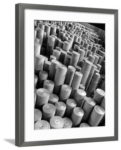 Rolls of Kraft Paper to Be Made into Paper Sacks Sit Stacked in the Union Bag and Paper Corp. Plant-Margaret Bourke-White-Framed Art Print