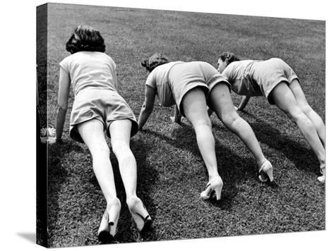 Women Doing Pushups at Rose Dor Farms, a Weight Loss Camp-Alfred Eisenstaedt-Stretched Canvas Print