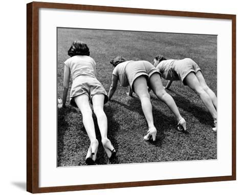 Women Doing Pushups at Rose Dor Farms, a Weight Loss Camp-Alfred Eisenstaedt-Framed Art Print