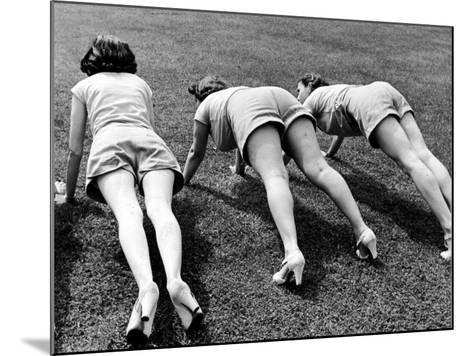 Women Doing Pushups at Rose Dor Farms, a Weight Loss Camp-Alfred Eisenstaedt-Mounted Photographic Print