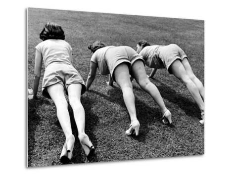 Women Doing Pushups at Rose Dor Farms, a Weight Loss Camp-Alfred Eisenstaedt-Metal Print