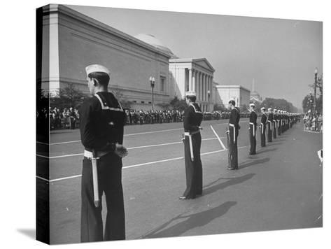 Sailors Lining Constitution Avenue for Funeral of Franklin D. Roosevelt-Alfred Eisenstaedt-Stretched Canvas Print