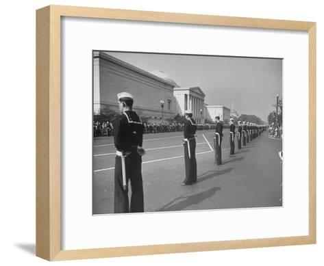 Sailors Lining Constitution Avenue for Funeral of Franklin D. Roosevelt-Alfred Eisenstaedt-Framed Art Print