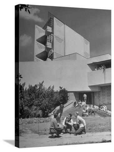 Students on Campus of Florida Southern University Designed by Frank Lloyd Wright-Alfred Eisenstaedt-Stretched Canvas Print