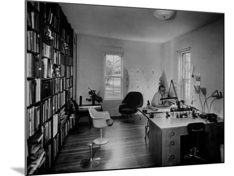Architect Eero Saarinen Sitting in His Studio at Home--Mounted Photographic Print