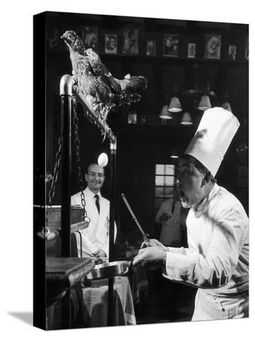 French Restaurant Owner Sam Letrone Entertaining Patrons with His Performing Chicken-Loomis Dean-Stretched Canvas Print