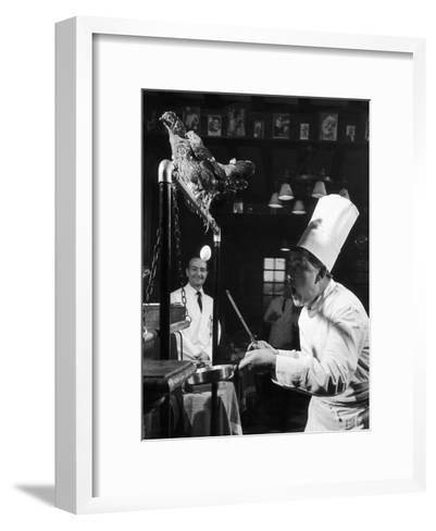 French Restaurant Owner Sam Letrone Entertaining Patrons with His Performing Chicken-Loomis Dean-Framed Art Print
