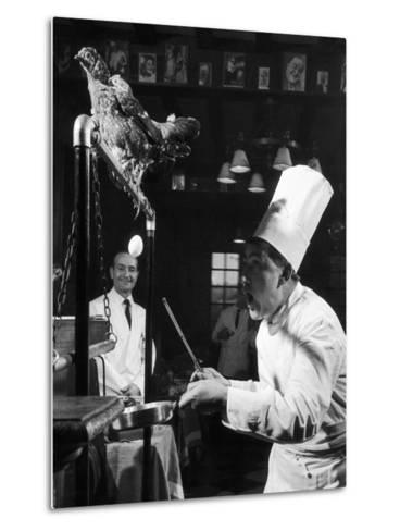 French Restaurant Owner Sam Letrone Entertaining Patrons with His Performing Chicken-Loomis Dean-Metal Print