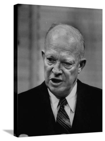 President Dwight D. Eisenhower Answering Questions at a Press Conference--Stretched Canvas Print