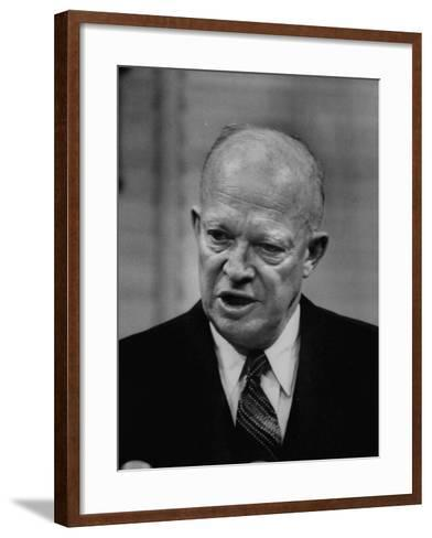 President Dwight D. Eisenhower Answering Questions at a Press Conference--Framed Art Print