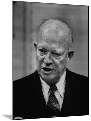 President Dwight D. Eisenhower Answering Questions at a Press Conference--Mounted Photographic Print