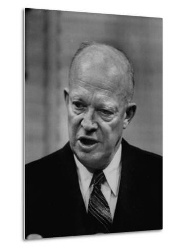 President Dwight D. Eisenhower Answering Questions at a Press Conference--Metal Print