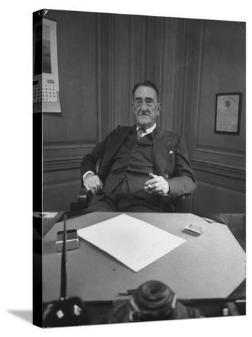 Publisher of Post-Dispatch Newspaper Joseph Pulitzer Jr., Sitting in His Office-Ed Clark-Stretched Canvas Print