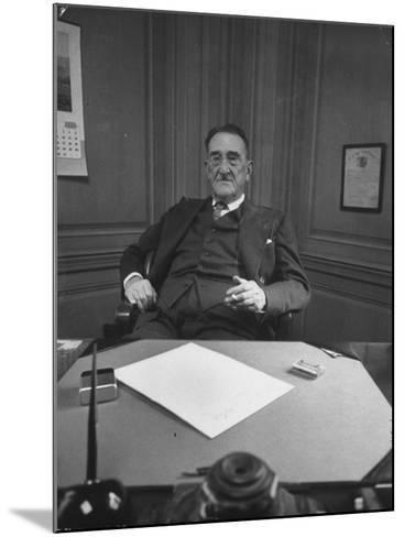 Publisher of Post-Dispatch Newspaper Joseph Pulitzer Jr., Sitting in His Office-Ed Clark-Mounted Photographic Print