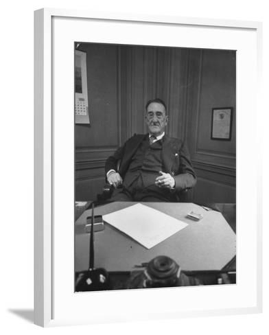 Publisher of Post-Dispatch Newspaper Joseph Pulitzer Jr., Sitting in His Office-Ed Clark-Framed Art Print