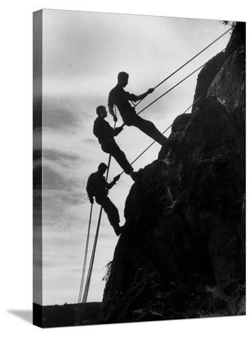 Rock Climbing Teenagers--Stretched Canvas Print