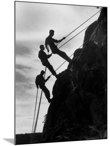 Rock Climbing Teenagers--Mounted Photographic Print