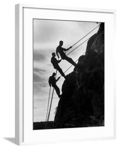 Rock Climbing Teenagers--Framed Art Print