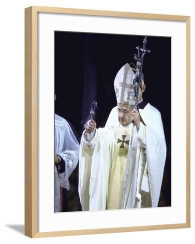 Pope Paul Vi Giving Mass and Sermon of Peace at Yankee Stadium During Historic Visit--Framed Art Print