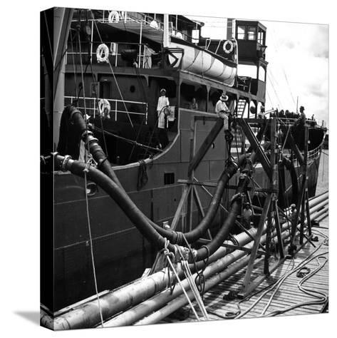 El Barco Oil Being Piped into Texaco and Socony-Vacuum Tankers--Stretched Canvas Print