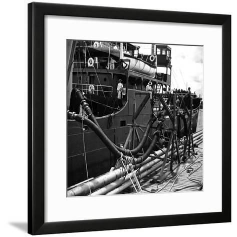 El Barco Oil Being Piped into Texaco and Socony-Vacuum Tankers--Framed Art Print