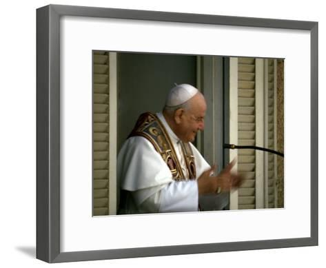 Pope John Xxiii Speaking from Balcony During Ecumenical Council--Framed Art Print