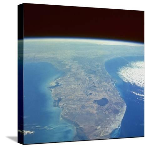 Satellite View of the Swampland around Southern Lake Okeechobee--Stretched Canvas Print