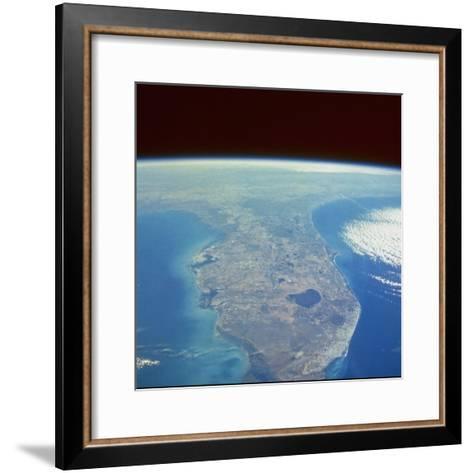 Satellite View of the Swampland around Southern Lake Okeechobee--Framed Art Print