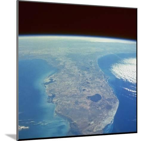 Satellite View of the Swampland around Southern Lake Okeechobee--Mounted Photographic Print