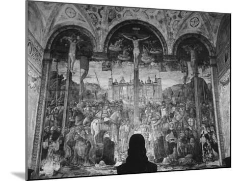 Woman in a Church Contemplating a Wall Painting of the Crucifixion-Carl Mydans-Mounted Photographic Print