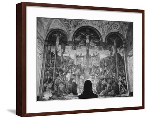 Woman in a Church Contemplating a Wall Painting of the Crucifixion-Carl Mydans-Framed Art Print