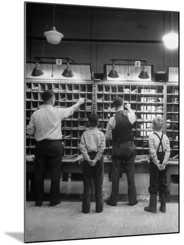 Boys Watching Postal Workers Sorting Mail-Nina Leen-Mounted Photographic Print