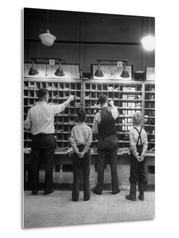 Boys Watching Postal Workers Sorting Mail-Nina Leen-Metal Print