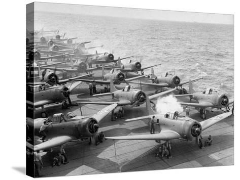 """Planes Starting Motors on Flight Deck of Aircraft Carrier """"Enterprise""""-Peter Stackpole-Stretched Canvas Print"""