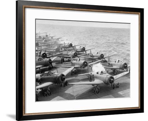 "Planes Starting Motors on Flight Deck of Aircraft Carrier ""Enterprise""-Peter Stackpole-Framed Art Print"